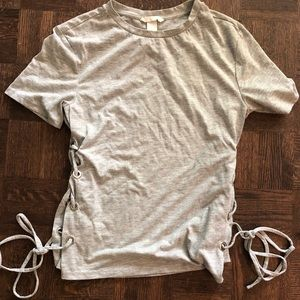 HM grey T-shirt with side ties